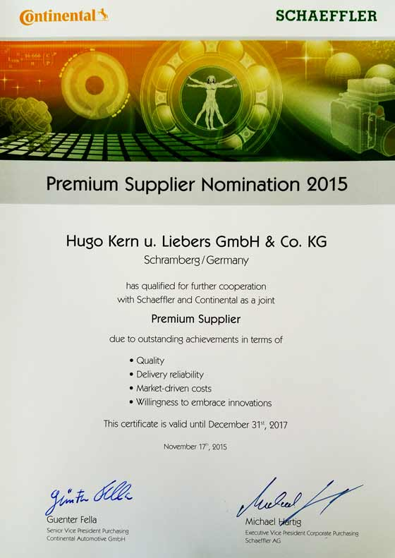 Continental Schaeffler Premium Supplier Nomination